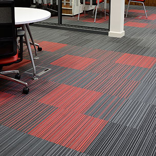 Burmatex stripe Carpet Tiles Grey Red